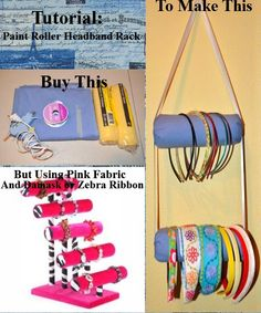 Tutorial: Paint Roller Headband Rack (Dollar Store DIY Craft) ~Project estimate:    Paint rollers, $2.00  Ribbon, on hand or $1 and up  Hot glue, on hand  Fabric, on hand or $1 and up  Total:  $2 and up