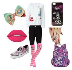 """We're all mad here!"" by maximeeeeexx on Polyvore featuring mode, Olympia Le-Tan, Disney, Vera Bradley, AG Adriano Goldschmied en Lime Crime"