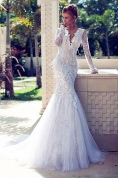 Wholesale Mermaid Wedding Dresses - Buy New Arrival Affordable Sheer V Neck Feather Lace Appliques Beads Sash Mermaid Long Sleeves Sweep Train Wedding Dresses Bridal Gowns, $156.64 | DHgate