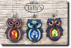 cute soutache owls maybe idea for polymer clay Bird Jewelry, Beaded Jewelry, Jewelery, Handmade Jewelry, Beaded Brooch, Soutache Pendant, Soutache Necklace, Polymer Clay Owl, Polymer Clay Jewelry