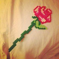 Rose flower perler beads by danniekay23