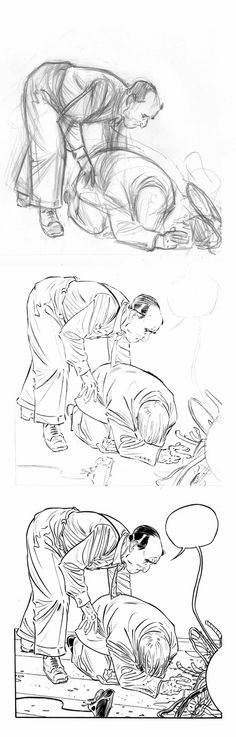 Jordi Lafebre           :  Ink process.First I draw a fastsketch, with some ...