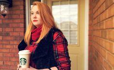 Red plaid, fur vest, Starbucks coffee, fall fashion, red snood. Red Plaid, Plaid Scarf, Starbucks Coffee, Fall 2015, Autumn Fashion, Vest, Fur, Jackets, Down Jackets