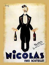 Nicolas Fines Bouteilles Vintage Advertisement on Canvas Art Nouveau, Art Deco, Retro Poster, Vintage Posters, Vins Nicolas, Traditional Canvas Art, Pub Vintage, Vintage Italian, Vintage Style