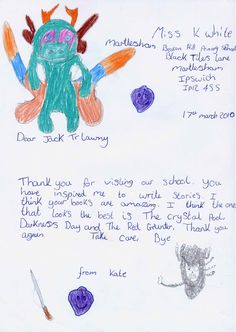 Jack Trelawny school author visit to Martlesham Beacon Hill Primary School IP12 4SS (UK). After-visit letter and artwork from pupil. To book a visit, email Jane Bennett, Events Manager: info@campionpublishing.com