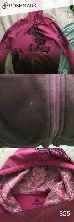 Pink and brown Disney hoodie Small Stain on bottom front of jacket as pictured. Pink and brown ombré color jacket. Zips. Has hoodie. A bit of pilled material. Disney Jackets & Coats