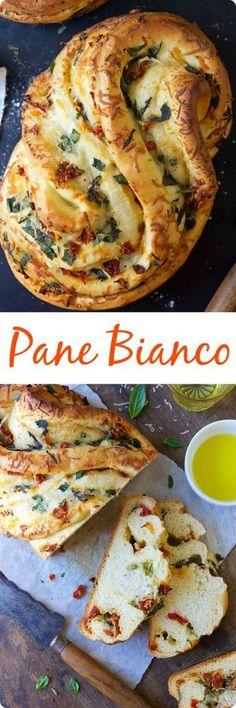 Pane Bianco | This recipe makes a tasty loaf filled with fresh basil, tomatoes, garlic, and shredded cheese; the bread has wonderful soft texture, and is packed with flavor. The unique shape is simple to achieve, and makes an impressive presentation. Find recipe at redstaryeast.com.