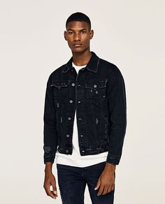 Image 2 of BLACK RIPPED JACKET from Zara