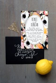 Watercolor Floral Invitation Set: Blush Black Gray by HooplaLove