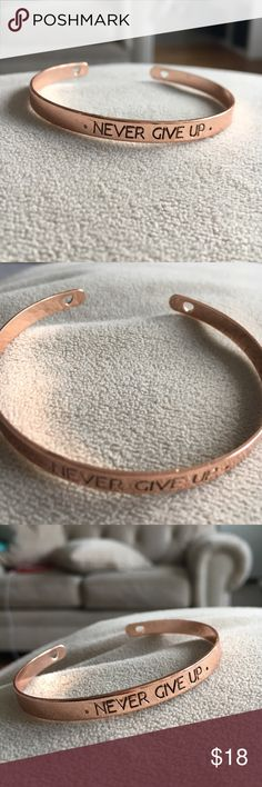 Never Give Up Bangle New rose gold tone never give up Bangle - can bundle all three for $30 and two for $20 Jewelry Bracelets