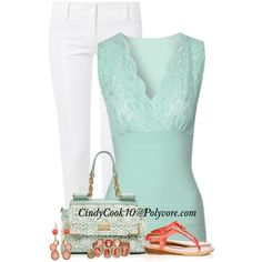 Coral & Mint, created by cindycook10 on Polyvore