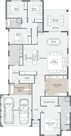 New Home Designs Perth   Explore New House Designs & Prices Bungalow Floor Plans, Home Design Floor Plans, House Floor Plans, New House Plans, Dream House Plans, Modern House Plans, Design Your Dream House, House Design, Tv Unit Furniture Design