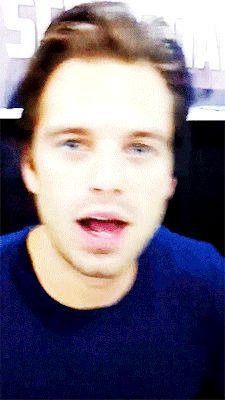 Sebastian Stan saying hi | hes so adorable | look at his eyes