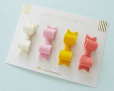 Girl/baby Wool Felt mini hair bow clip set by LovelyLittlesandCo