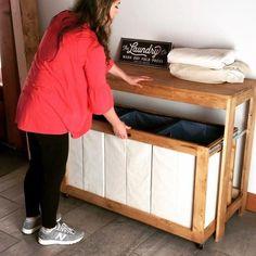 Folding Table Diy, Laundry Room Folding Table, Laundry Table, Folding Laundry, Laundry Station, Laundry Area, Laundry Sorter, Laundry Storage, Laundry Room Organization