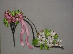 Ribbon flower embroidery shoe