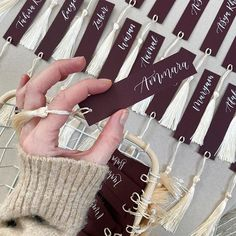 Calligraphy wedding placenames finished with luxury tassel. Available in a wide range of colours. Wedding Place Names, Wedding Calligraphy, Name Cards, Arm Warmers, Tassels, Wedding Decorations, Colours, Photo And Video, Luxury