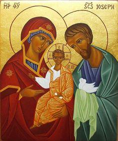 """cette fausse icône de la """"sainte Famille"""" nous représente un Christ, fiston adolescent entre papa et maman. Nous sommes en plein nestorianisme."""