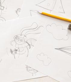 Ich hab so das Gefühl, dieses Jahr wird Ostern vor allem abenteuerlich!!! Und so ein Zeichenabenteuer beginnt man am allerbesten mit einem gut gespitzten Bleistift. Just Love, Stationery, Illustration, Paper Planes, Pencil, Bunny, Adventure, Easter Activities, Paper Mill