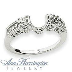 14k White Gold 1/4 ct tw Diamond Antique Style Ring Wrap, 650611