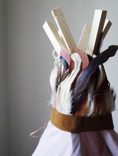 new tipi // blush grey & iridescent feathers... Georges Georges, so lovely!