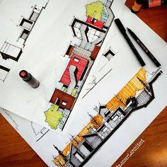 """8,143 Me gusta, 10 comentarios - @arquitetapage en Instagram: """"Bytes @m.ansari.architect"""" Architecture Site Plan, Architecture Concept Drawings, Architecture Presentation Board, Architecture Sketchbook, Architecture Panel, Architectural Presentation, Interior Sketch, Sketch Design, Planer"""