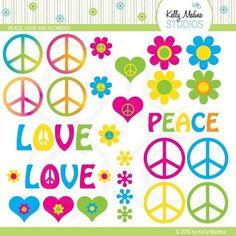 Peace Love and Flowers Clipart Set  Digital by Kellymedinastudios, $5.00