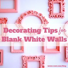 Decorating With White Walls love the pink picture frames. opposite wall as the striped pink
