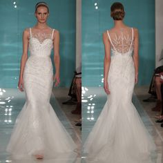 Brides.com: Spring 2013 Wedding Dress Trends. Trend: Portrait Backs. Gown by Reem Acra  See more Reem Acra wedding dresses in our gallery.