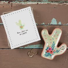 This Santa Fe Trinket Dish is so fun and giftable! It's a cactus shape with cute floral details and comes in a simple and ready-to-wrap white box with the sweet sentiment,