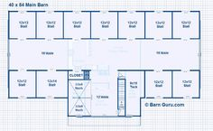11 Stall Horse Barn Design Plans - With Living Quarters
