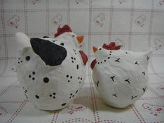 Chicken Folk Art Figurines OOAK Itty Bitty Chickens Paper Mache Set of 2 Art Sculptures White & Black Handmade Country Decor Cottage Rustic by TheCopperFinch on Etsy