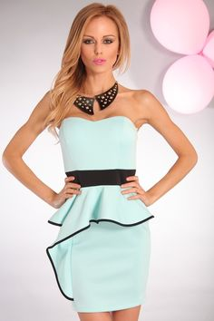 Pale mint and black peplum dress