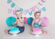 Twins First Birthday Cake Cakes and things like cake