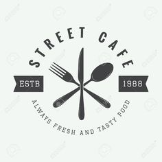 Illustration of vintage restaurant logo, badge or emblem. Vector illustration vector art, clipart and stock vectors. Logo Restaurant, Resturant Logo, Restaurant Vintage, Restaurant Design, Vintage Logo, Café Vintage, Logo Chef, Logo Inspiration, Cafe Branding