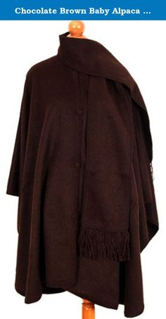 Chocolate Brown Baby Alpaca Wool Cloak Cape, with Attached Scarf. Very Warm Still Light. Chocolate brown alpaca cape full length one size women's. Attached scarf and button down front. Hand made in Peru.