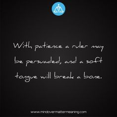 Sayings - With-patience-a-ruler-may-be-persuaded,-and-a-soft-tongue-will-break-a-bone. Mind Over Matter Meaning, Life Proverbs, Body And Soul, Ruler, Consciousness, Patience, Spirituality, Mindfulness, Sayings