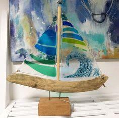 Fused glass - sailboat - driftwood