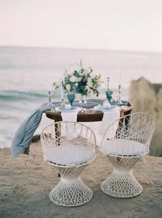 Roped chairs from Archive Rentals were a breezy addition to a recently-eloped couple's ocean-view sweetheart table. Wedding Desert Table, Boho Beach Wedding, Beach Wedding Reception, Beach Wedding Favors, Farm Wedding, Dream Wedding, Waterfront Wedding, Wedding Store, Nautical Wedding