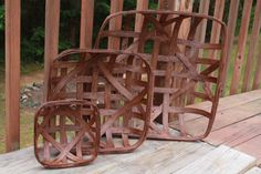 Vintage style tobacco basket from NC    21 x 21 Decorator Size NC Style Tobacco by crescentmoonprims