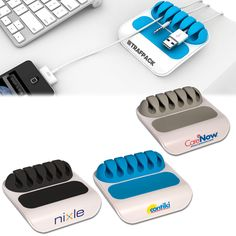 Gumbite® Stoppi Desktop Cable Manager, a Prime Line® exclusive! ABS plastic with silicone accents and slots. Keeps cables, cords and plugs within reach on your desk when disconnected. Prevents cables from sliding away. Silicone grip feet on base.