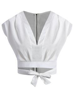 Tie Waist Plunging Neck Crop Top - WHITE M