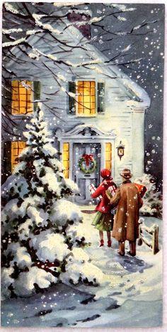 wonderful memories of old christmas cards. Vintage Christmas Images, Christmas Scenes, Old Fashioned Christmas, Christmas Past, Retro Christmas, Vintage Holiday, Christmas Pictures, Christmas Greetings, Winter Christmas