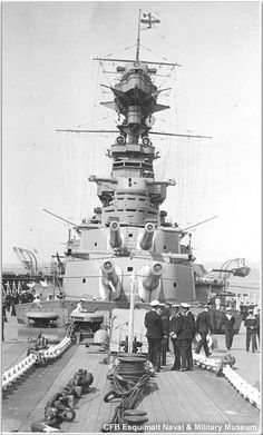Foredeck of the Royal Navy's most famous warship, 15 in battlecruiser HMS Hood, pictured between the wars.  After 3 battlecruisers were lost to magazine explosions at Jutland in 1916 further construction was halted, but Hood was already at an advanced stage.  In May 1941, 25 years later almost to the day, she suffered an identical fate at the hands of modern German battleship Bismarck.