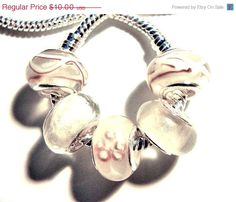 Pandora Style bead set white by CookalasHouseOfCards, $9.50