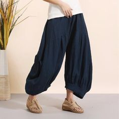 Pure Linen Wide Harem Trousers