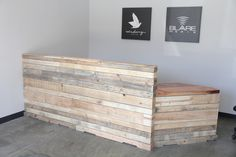 Reclaimed wood reception desk or retail cash wrap. - love the recycled wood but need to stain darker - mahogany/espresso tones Modern Reception Desk, Office Reception, Reception Areas, Reception Furniture, Reception Counter, Receptionist Desk, Chiropractic Office, Reclaimed Wood Desk, Concrete Wood