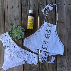 Handmade crochet white lacy bikini bottoms от Imyourgypsy на Etsy