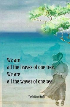 """""""We are all the leaves of one tree. We are all the waves of one sea."""" Thich Nhat Hanh Buddhist Wisdom, Buddhist Quotes, Spiritual Wisdom, Spiritual Awakening, Awakening Quotes, Spiritual Guidance, Reiki, Great Quotes, Inspirational Quotes"""
