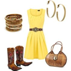 Classy Yellow sundress and Womens Old Gringo Golondrita. Click image to find out where to get boots.